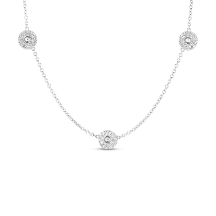 "17"" 18k necklace with three Pois Moi Luna stations accented with diamonds. Roberto Coin"
