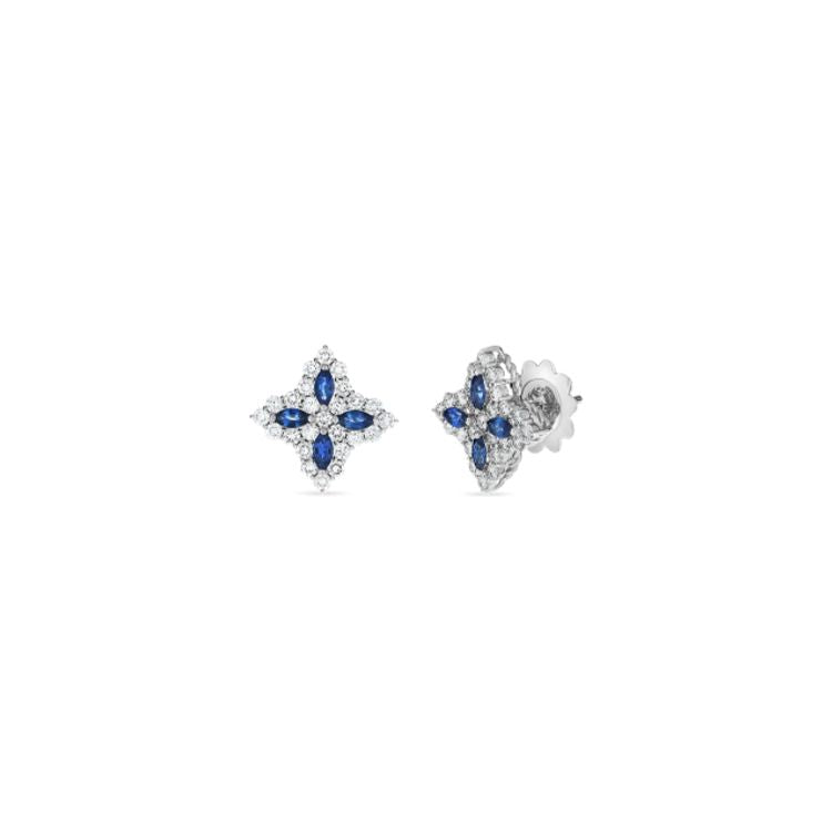 Roberto Coin Princess Flower Sapphire Stud Earrings in 18k White Gold as well as diamonds
