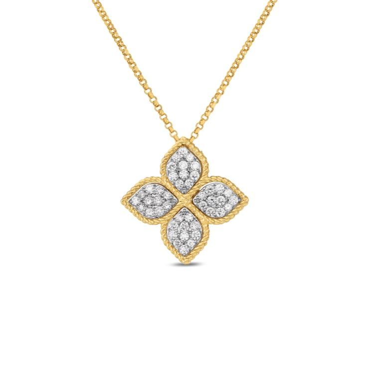 Roberto Coin Large Princess Flower Diamond Pendant Necklace in 18k Yellow Gold