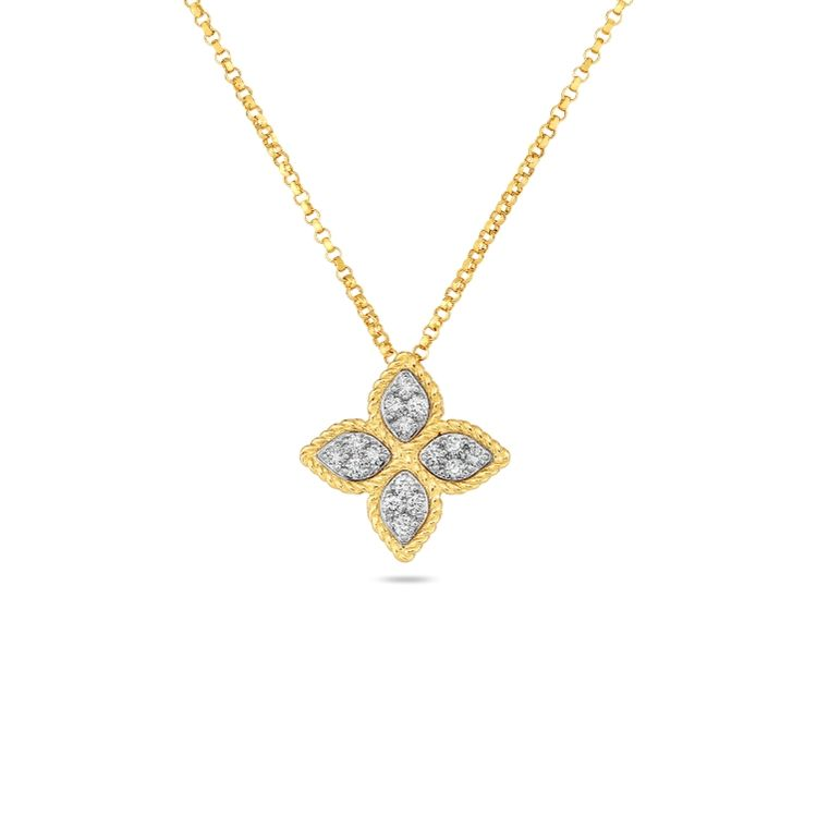 Roberto Coin Princess Flower Medium Pendant - 18k Yellow Gold with Diamonds