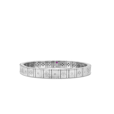Roberto Coin Princess Flower Satin Bracelet in 18k White Gold