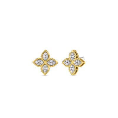 Roberto Coin Princess Flower Stud Earrings 18k Yellow Gold - Medium