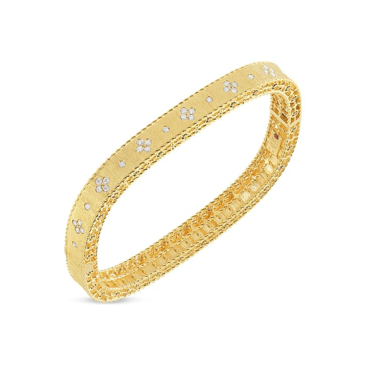 Roberto Coin Princess Flower Satin Bangle 18k Yellow Gold