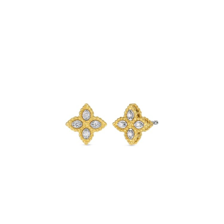 Roberto Coin Princess Flower Stud Earrings 18k Yellow Gold - Small