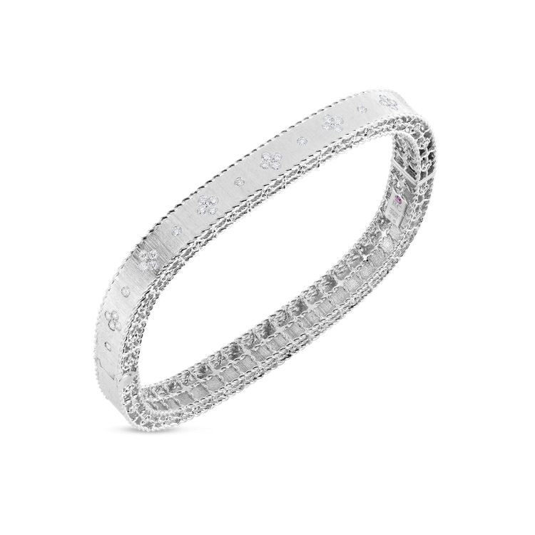 Roberto Coin Princess Flower Satin Bangle - 18k White Gold