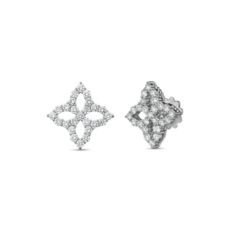 Roberto Coin Princess Flower Outline Stud Earrings in 18k White Gold - Large