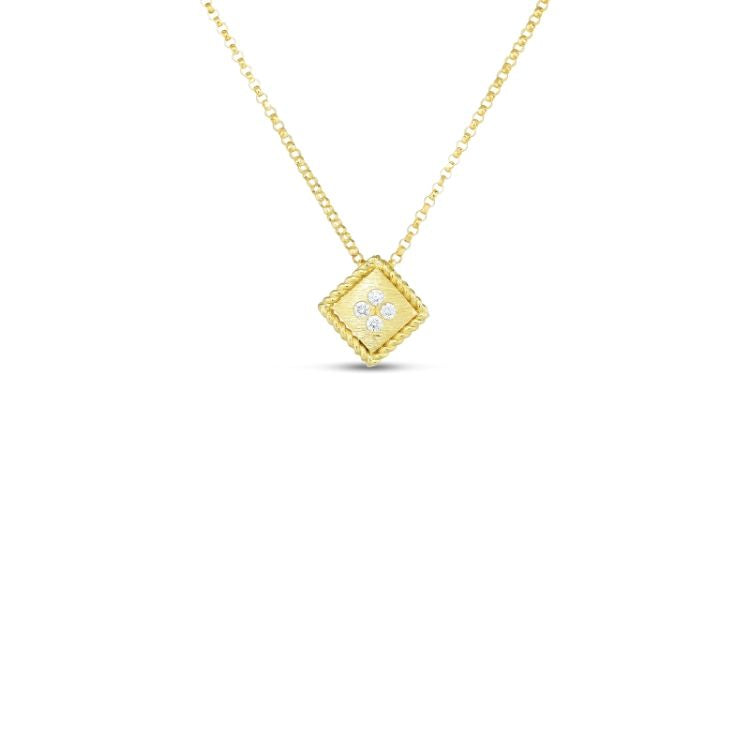 Palazzo Ducale pendant necklace with diamond accent in yellow gold by Roberto Coin