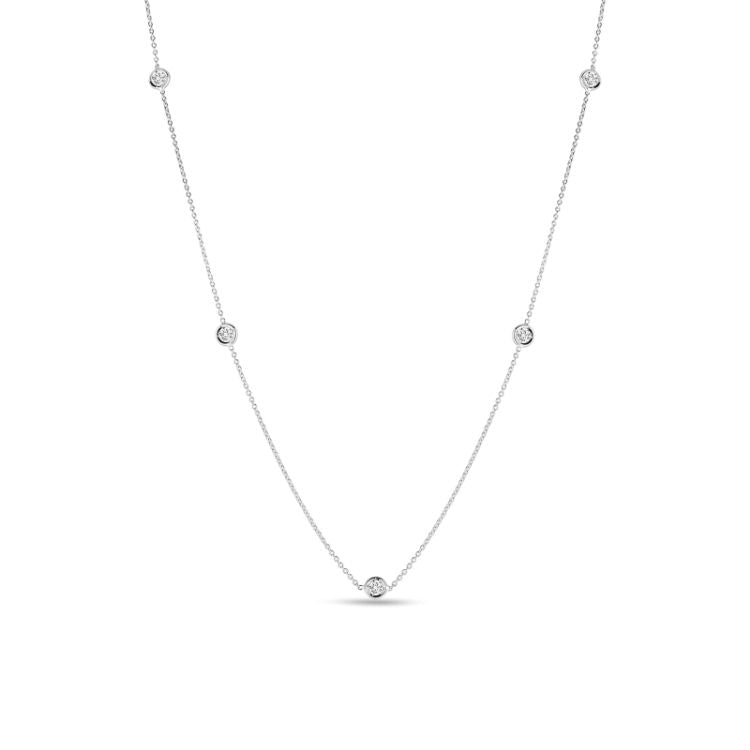 Roberto Coin 5 Bezel Set Diamond Necklace in 18k White Gold