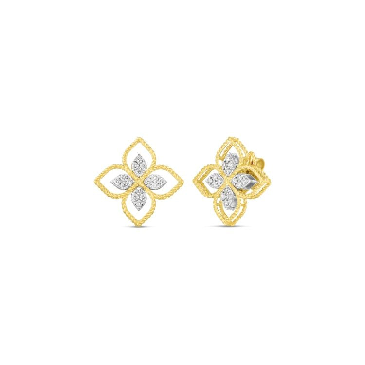 The large Principessa flower earrings feature approximately 0.35 tcw set in 18k yellow gold