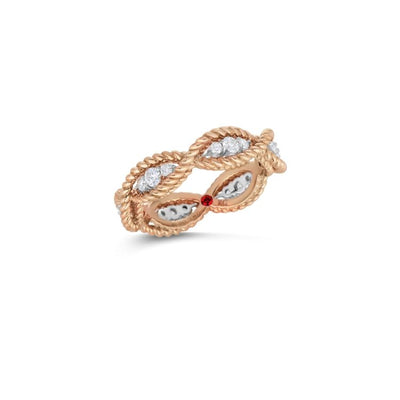 18k rose gold diamond new barocco roberto coin ring