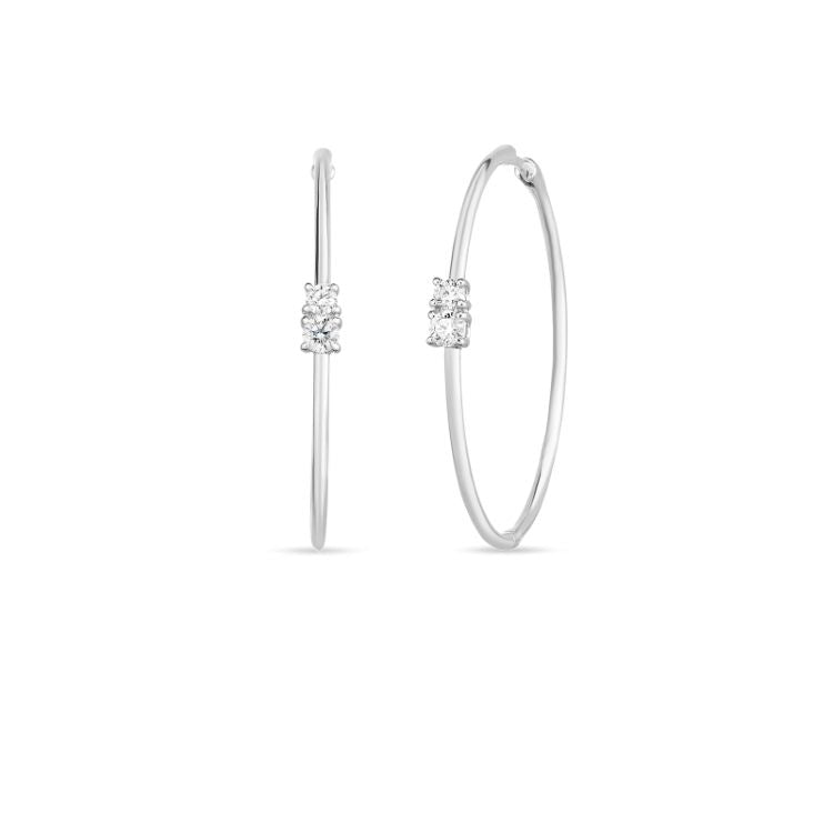 Roberto Coin 38mm White Gold Hoops with Diamond Accents