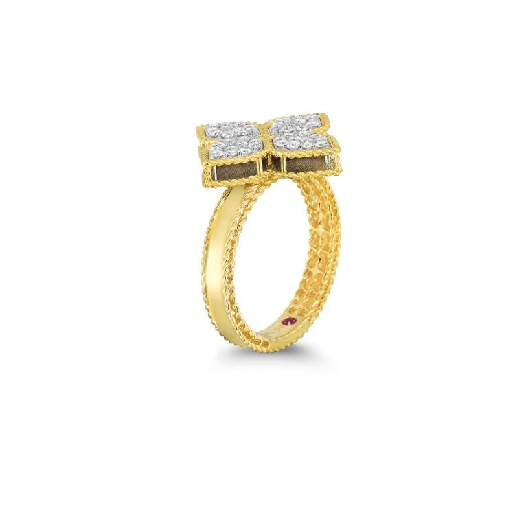 18 ct yellow gold diamond princess flower ring