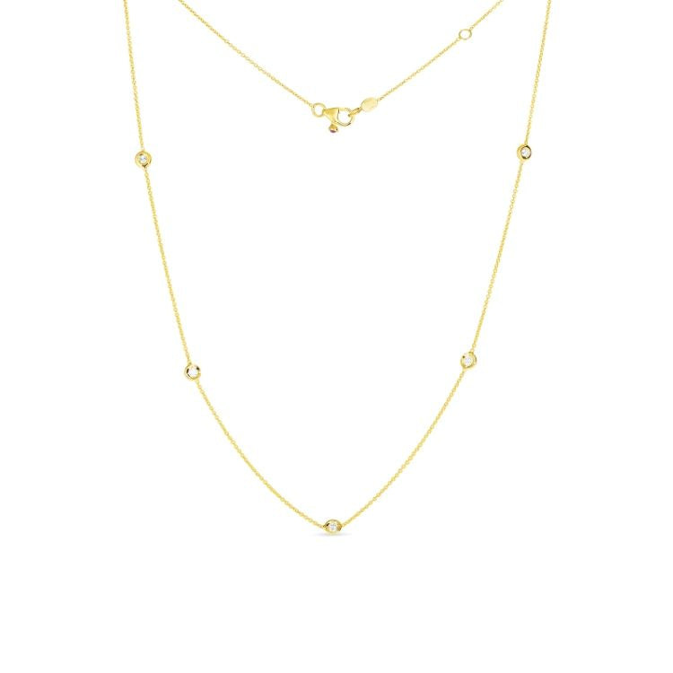 Roberto Coin 5 Bezel Set Diamond Necklace in 18k Yellow Gold