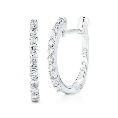 Roberto Coin Baby Hoop Diamond Hoop Earrings in 18k White Gold