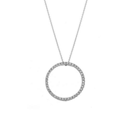 Roberto Coin Large 18k White Gold Diamond Pendant Necklace