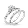 Robyn Diamond Solitare Halo Engagement Ring & Wedding Band - Naledi