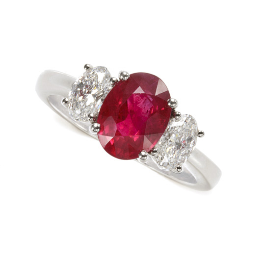 Ruby & Diamond Engagement Ring set in Platinum by Schwanke-Kasten Jewelers
