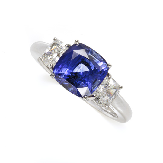 Sapphire & Diamond Engagement Ring in Platinum by Schwanke-Kasten Jewelers