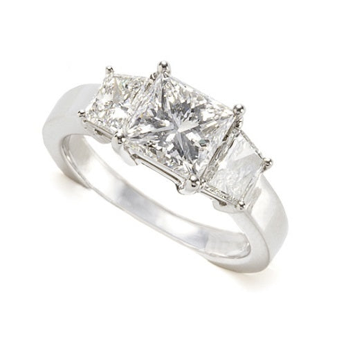 Three-Stone Princess Cut Diamond Engagement Ring set in Platinum by Schwanke-Kasten Jewelers