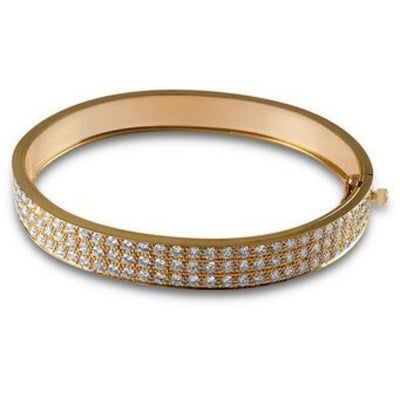 pave diamond bangle pink gold