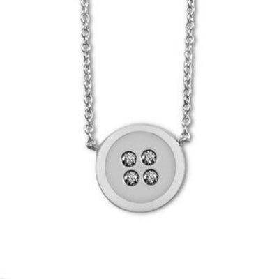 Button Necklace white gold