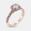 Tatiana Engagement Ring Mounting - Diamond Halo - Round Brilliant - Rose Gold