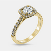 Tatiana Engagement Ring Mounting - Diamond Halo - Round Brilliant - Yellow Gold