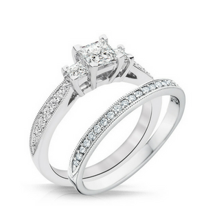 Trista Diamond Three Stone Engagement Ring & Wedding Band - Naledi