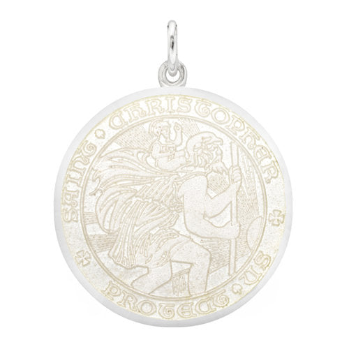 White Sterling Silver St. Christopher Medal Pendant Necklace