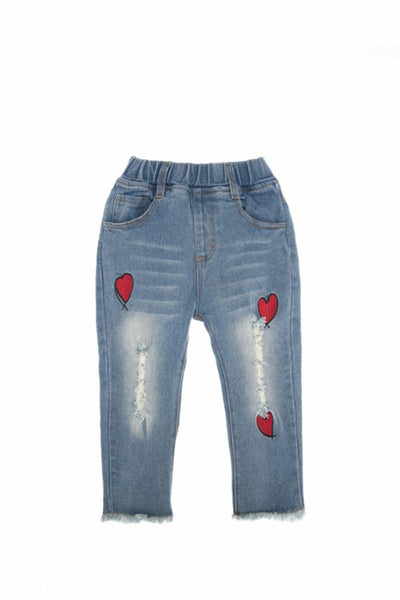 Frayed Hem Straight Leg Jeans w/ Embroidered Hearts