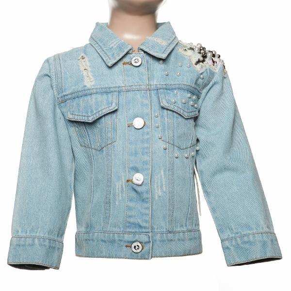 L/S Light Wash w/ Pearl & Flower Patch Detail Denim Jacket
