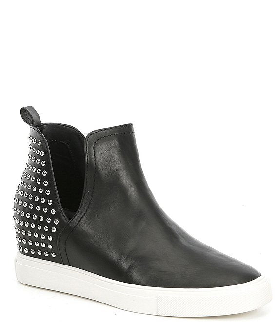 Chloey Black Leather Studded Sneakers