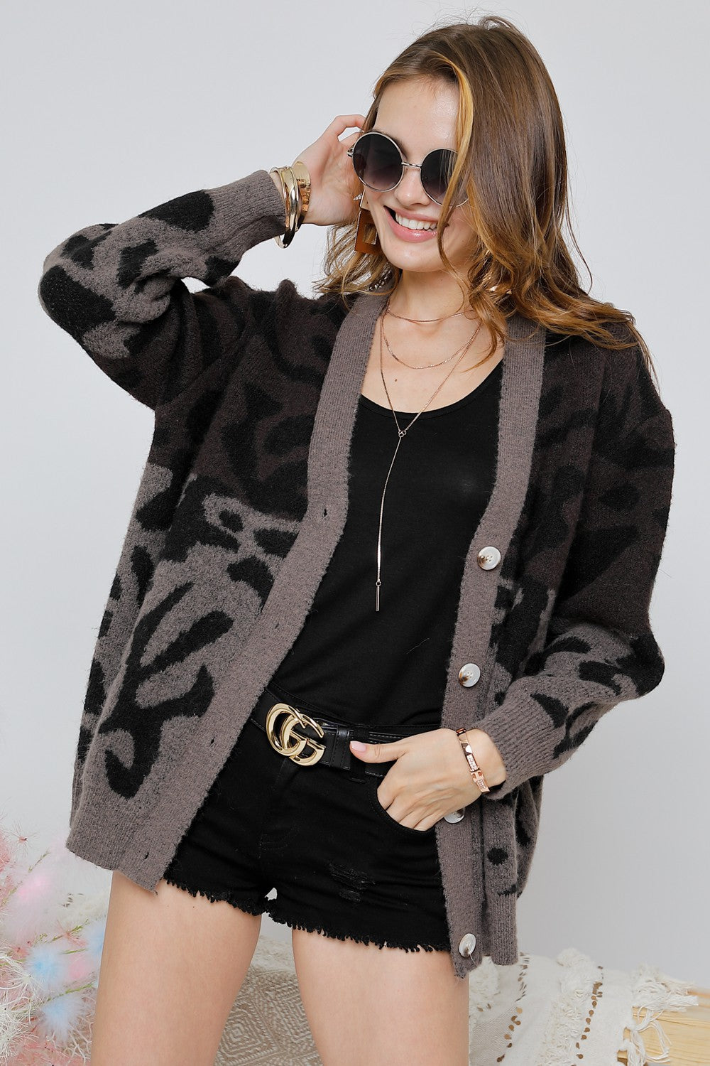 Two Tone Color Block Leopard Cardigan