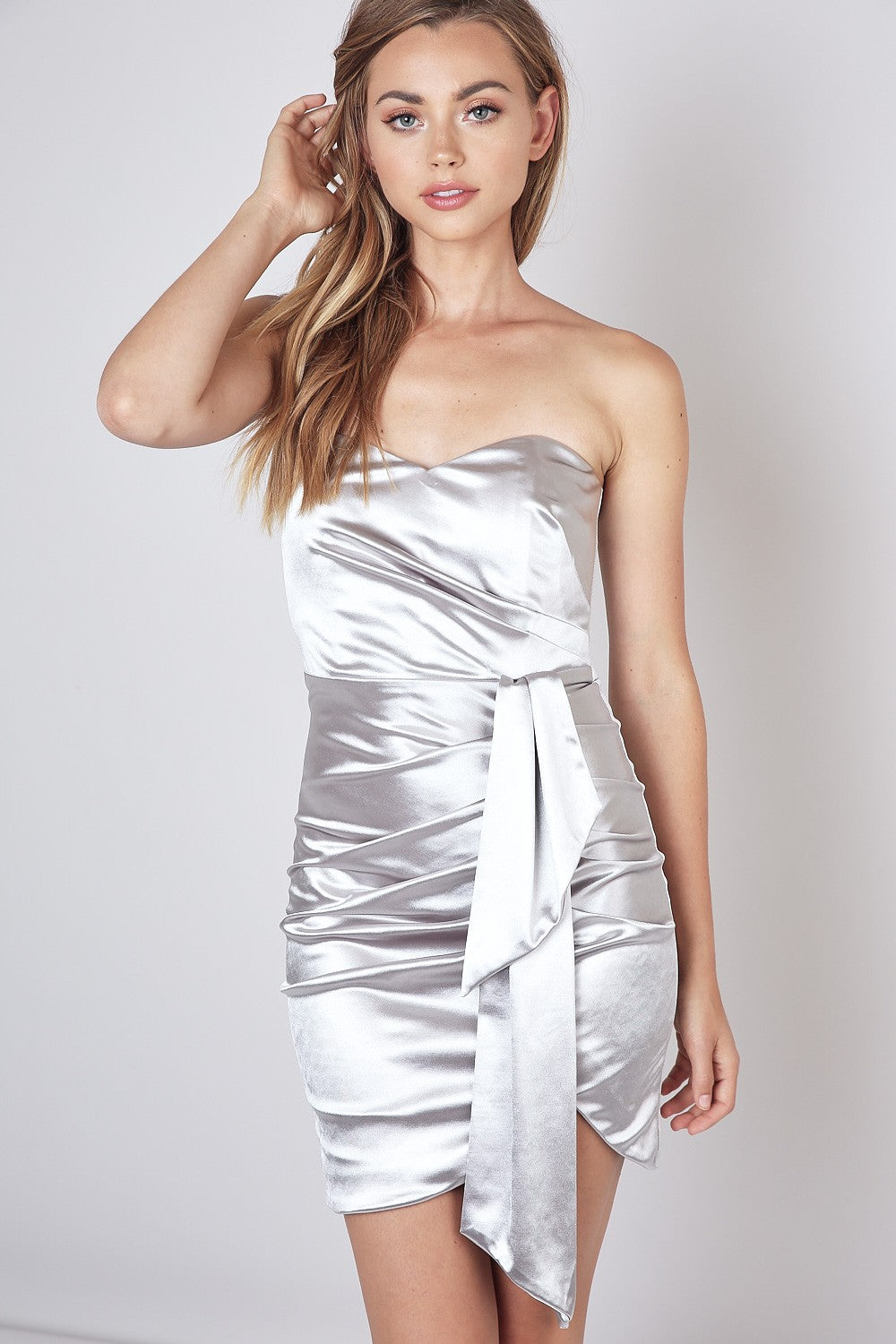 Open Shoulder Draped Accent Dress - Silver