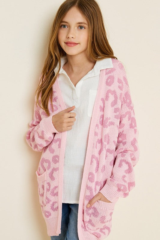 Kids Lightweight Leopard Knit Open Front Cardigan