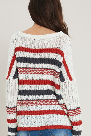 Striped Loose FIshnet Sweater