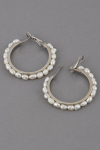 Large Thick Pearl Lined Hoop Earring