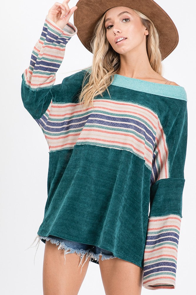 Printed Corduroy Mix Match Top