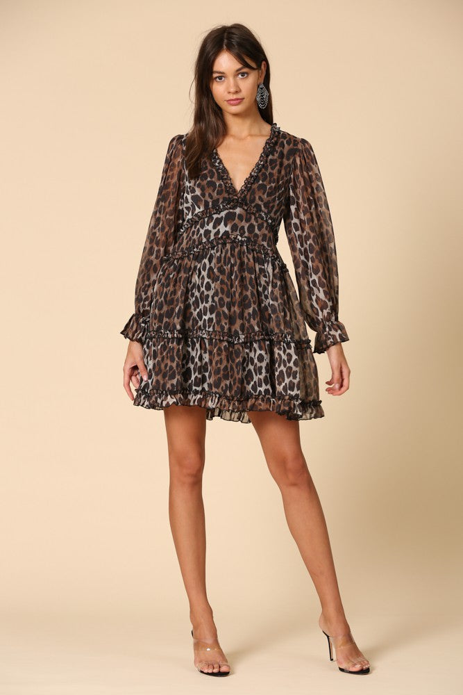 Leopard Ruffle Chiffon Dress