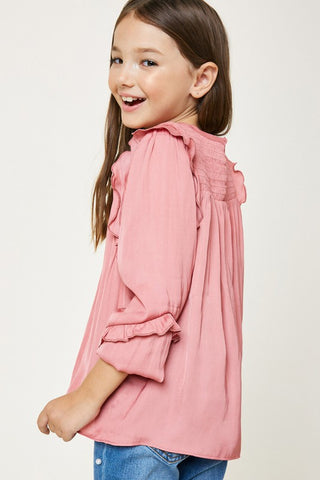 Ruched Ruffle Puff Sleeve Top