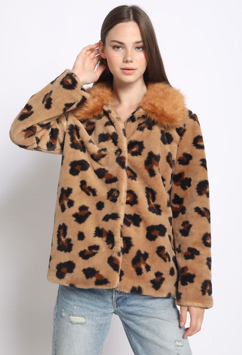 Contrast Collar Faux Fur Jacket