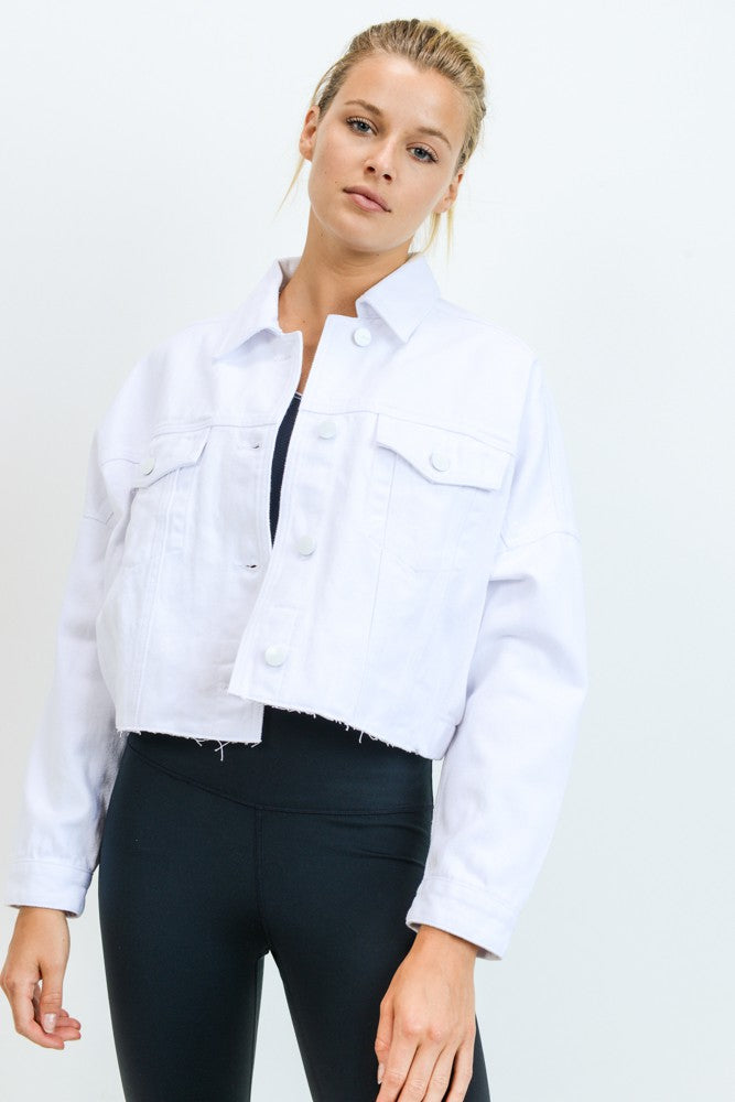 Raw & Ribbed Crop White Denim Jacket