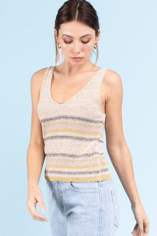 Oatmeal Sleeveless Sweater Top