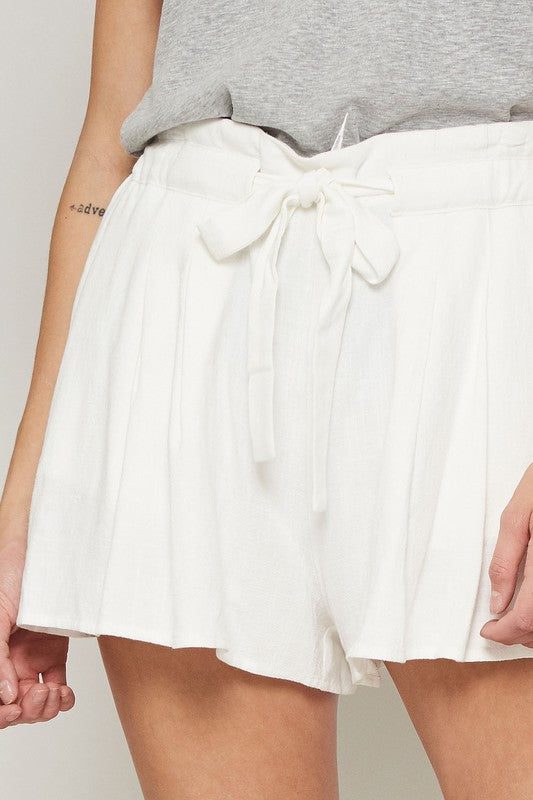 Pleated Wide-Leg Drawstring Shorts with Pockets