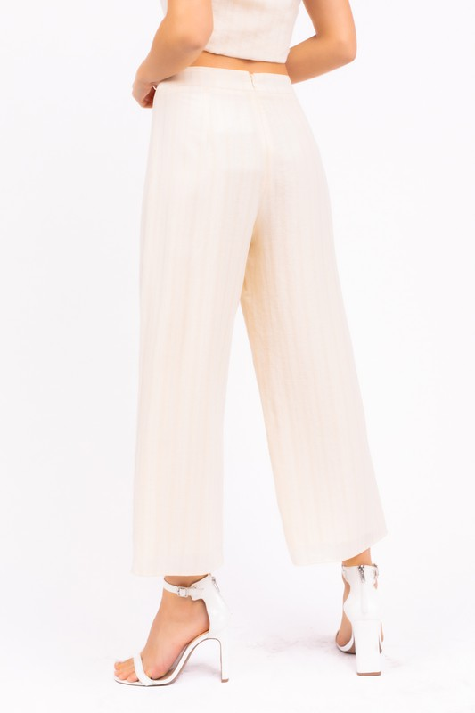 Wide Capri Striped Pants with back zipper