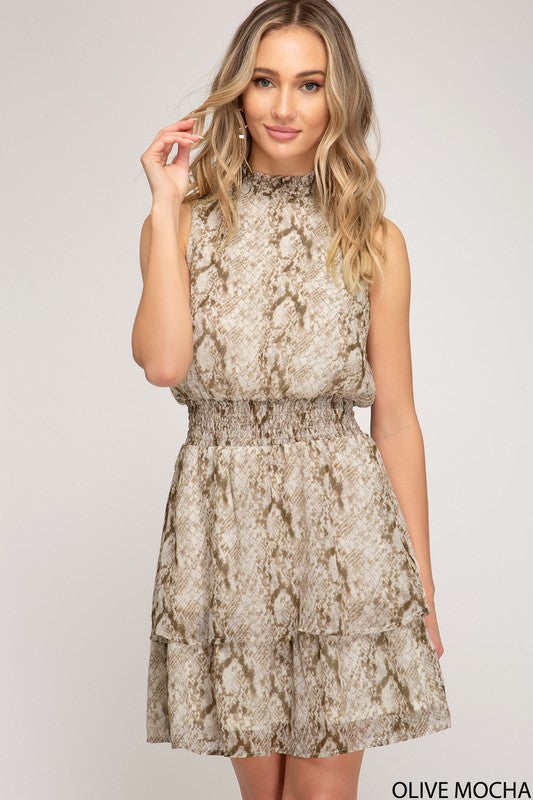 Mock Neck Snakeskin Dress