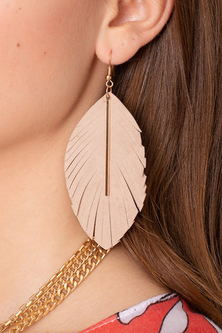 Feather Suede Leather Metal Bar Earrings