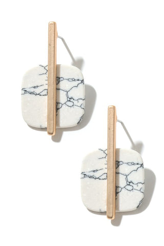 Stone Square Drop & Bar Earrings - Marble