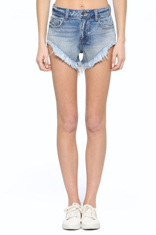 High Rise Hem Shorts w/ Frayed Hem - This Little Piggy