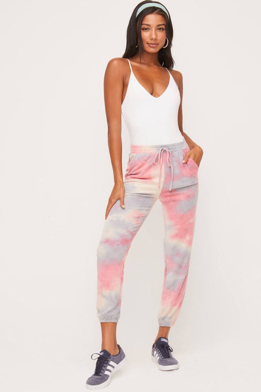 Coral Tie Dye Sweatpants with Front Tie